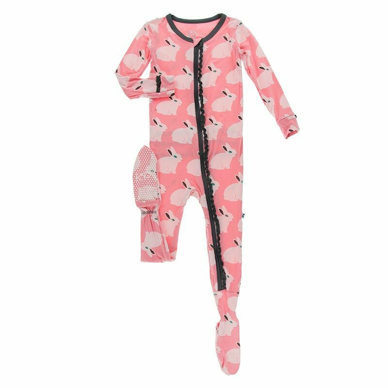 Kickee Pants Print Classic Ruffle Footie with Zipper - Strawberry Forest Rabit