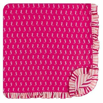 Kickee Pants Print Ruffle Toddler Blanket - Prickly Pear Mini Seahorses