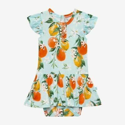 Posh Peanut Ruffled Capsleeve Henley Twirl Skirt Bodysuit - Maribella