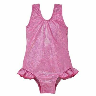 Flap Happy UPF 50 Delaney Hip Ruffle Swimsuit - Pink Sparkle