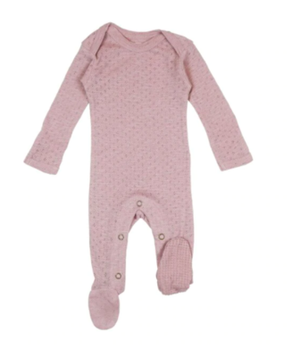 L'ovedbaby Pointelle Lap-Shoulder Footie - Thistle