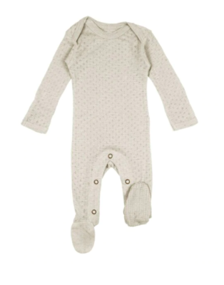 L'ovedbaby Pointelle Lap-Shoulder Footie - Stone