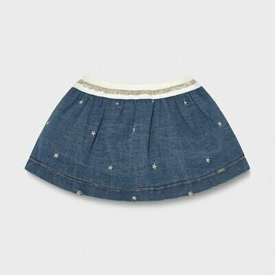 Mayoral Embroidered Denim Skirt