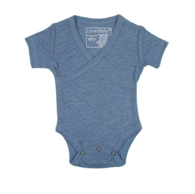 L'ovedbaby Pointelle Short Sleeve Wrap Bodysuit - Pool