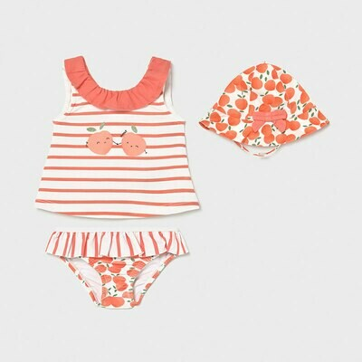 Mayoral Girl Peachy Swimsuit Set with Hat