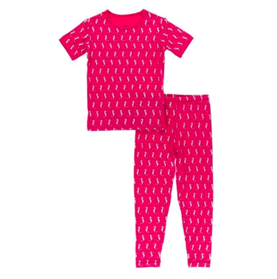 Kickee Pants Print Short Sleeve Pajama Set - Prickly Pear Mini Seahorses