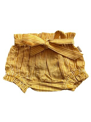 Yo Baby Bloomers - Yellow & White Stripes with Tie