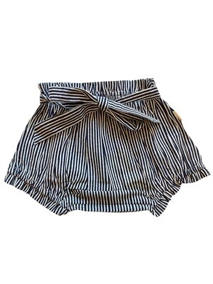 Yo Baby Bloomers - Navy & White Stripes with Tie