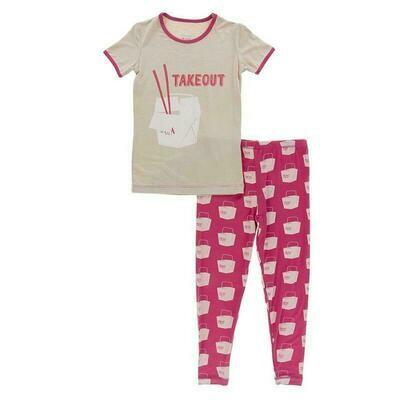 Kickee Pants Short Sleeve Graphic Tee Pajama Set - Cherry Pie Takeout