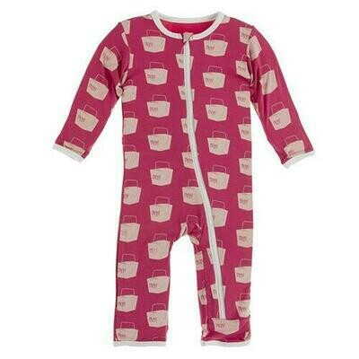 Kickee Pants Print Coverall with Zipper - Cherry Pie Takeout