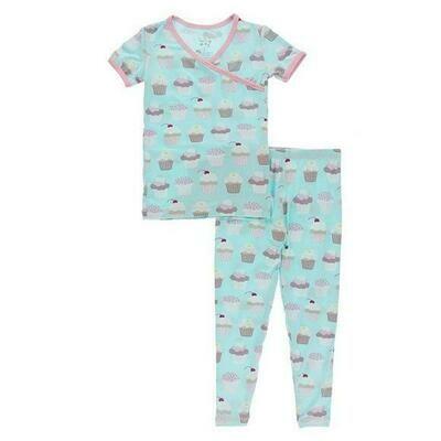 Kickee Pants Print Short Sleeve Kimono Pajama Set - Summer Sky Cupcakes