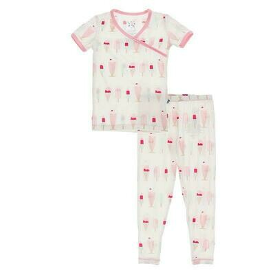 Kickee Pants Print Short Sleeve Kimono Pajama Set - Natural Ice Cream Shop
