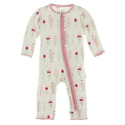 Kickee Pants Print Muffin Ruffle Coverall with Zipper - Natural Ice Cream Shop