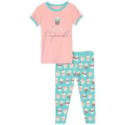 Kickee Pants Short Sleeve Graphic Tee Pajama Set - Summer Sky Cupcakes