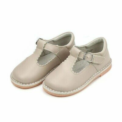L'Amour Selina Scalloped T-Strap Mary Janes - Almond