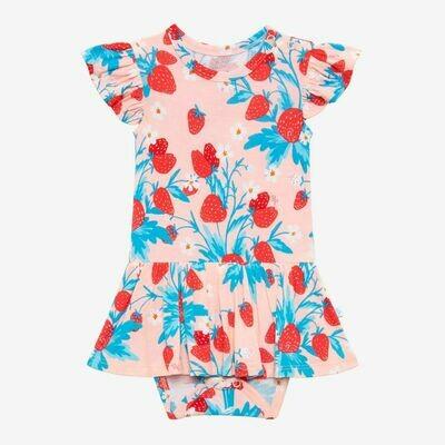Posh Peanut Ruffled Capsleeve Basic Twirl Skirt Bodysuit - Strawberry