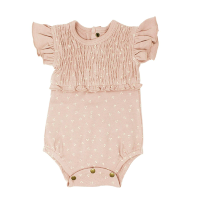 L'ovedbaby The Vintage Collection: Smocked Short Sleeve Bodysuit - Rosewater Dots