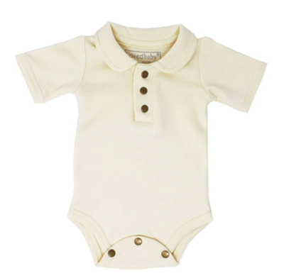 L'ovedbaby The Vintage Collection: Polo Bodysuit - Beige