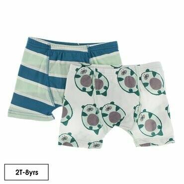 Kickee Pants Boxer Brief Set - Seaside Cafe Stripe & Natural Ottercado