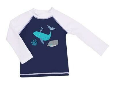 Flap Happy UPF 50+ Graphic Rash Guard Swim Top (Recycled) - Whale Tale