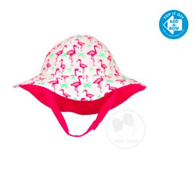 Wee Ones Girls Reversible Floppy Brim Pink & Green Flamingo Print Sun Hat