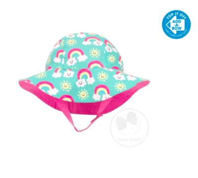 Wee Ones Girls Reversible Floppy Brim Rainbow Print Sun Hat