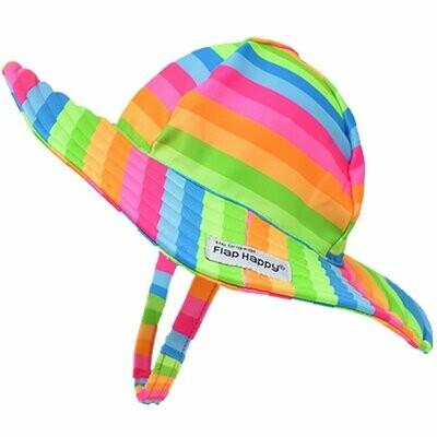 Flap Happy UPF 50+ Summer Splash Swim Hat - Neon Stripe