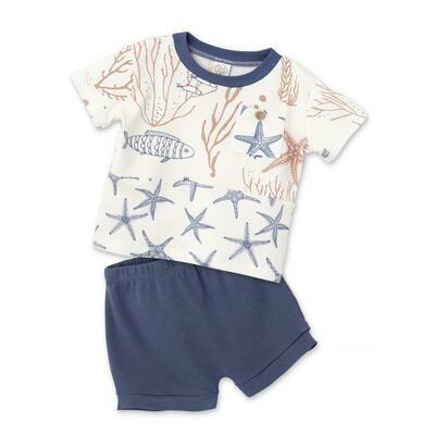 Tesa Babe Coral Reef Split Front Pocket T-Shirt & Indigo Shorts Set
