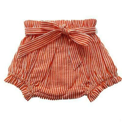 Yo Baby Bloomer Diaper Cover - Coral Pink & White Stripe with Tie