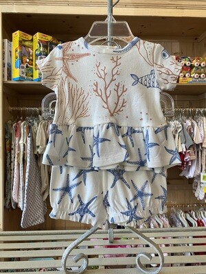 Tesa Babe Coral Reef & Sea Stars Short Sleeve Peplum Top & Bloomer Shorts