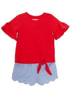 Mabel + Honey Red Scallop Short Set