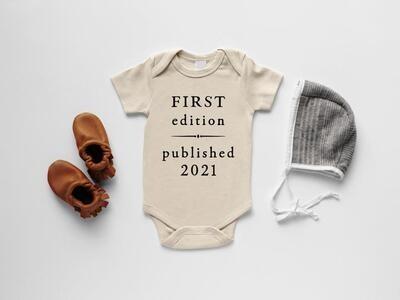 """Glad Folk - """"First Edition Published 2021"""" Organic Baby Bodysuit (Cream)"""