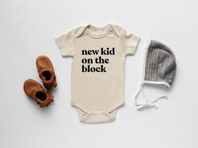 "Glad Folk - ""New Kid On The Block"" Organic Baby Bodysuit (Cream)"