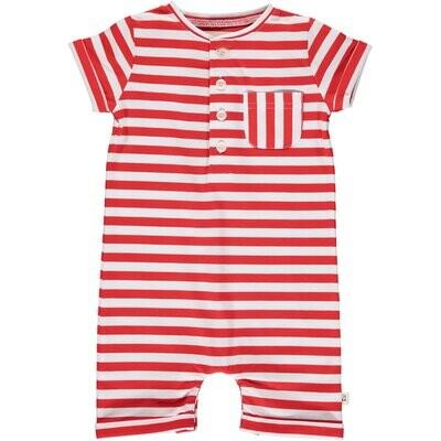 Me & Henry Boys Red and White Stripe Henley Romper