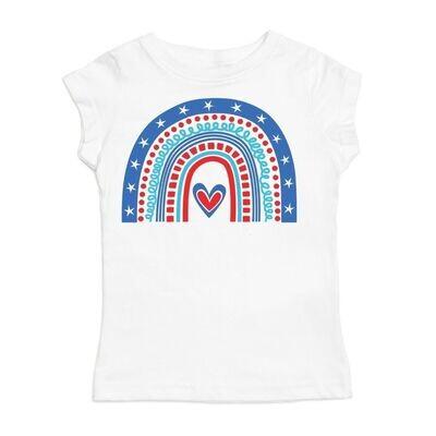 Sweet Wink Patriotic Rainbow Graphic Tee - White