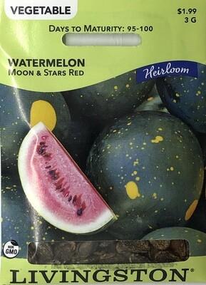 WATERMELON - HEIRLOOM - MOON & STARS RED