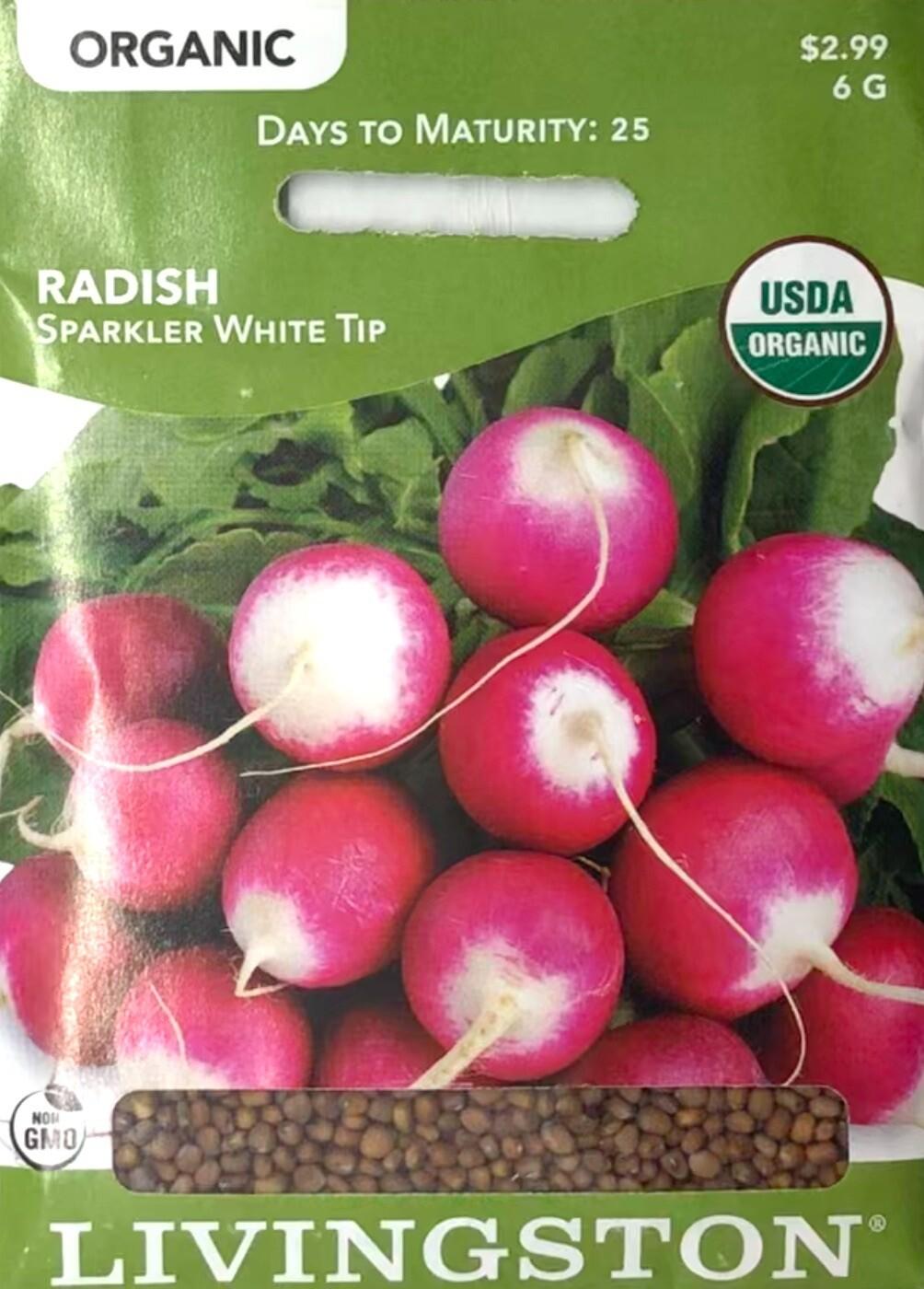 RADISH - ORGANIC - SPARKLER WHITE TIP