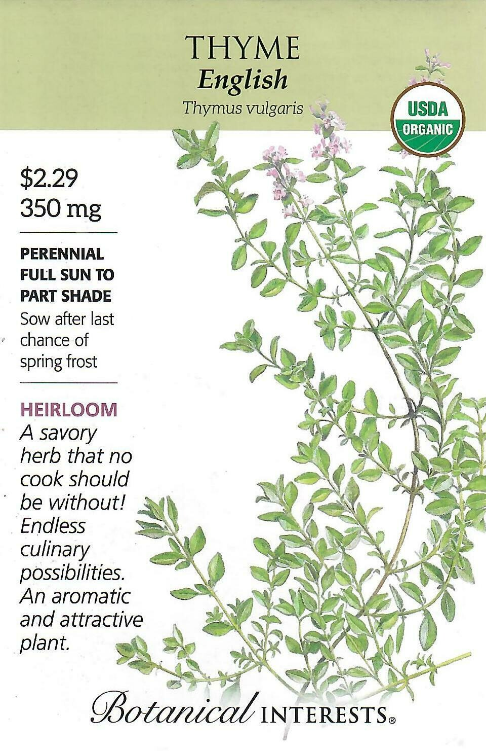 Thyme English Org Botanical Interests