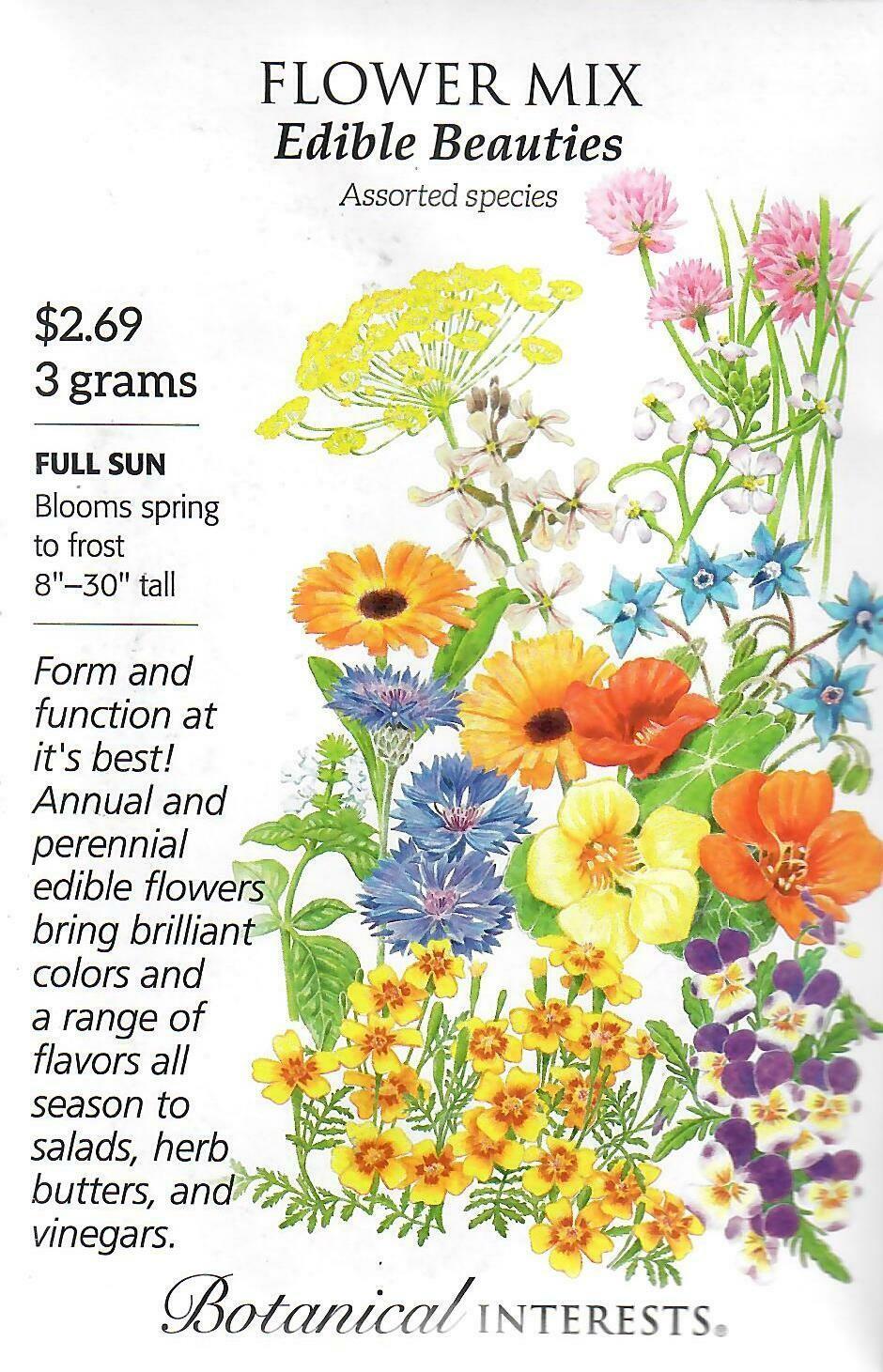 Flower Mix Edible Beauties Botanical Interests
