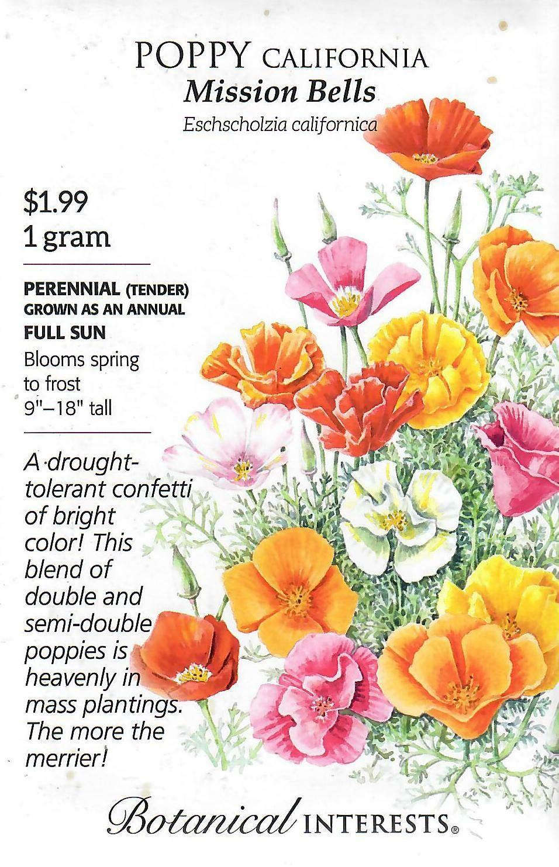Poppy California Mission Bells Botanical Interests