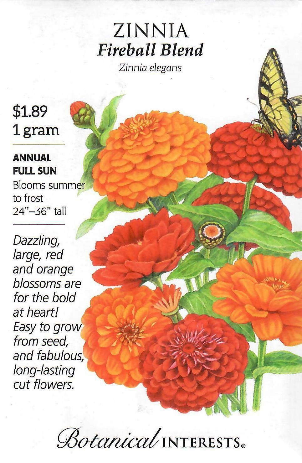Zinnia Fireball Blend Botanical Interests