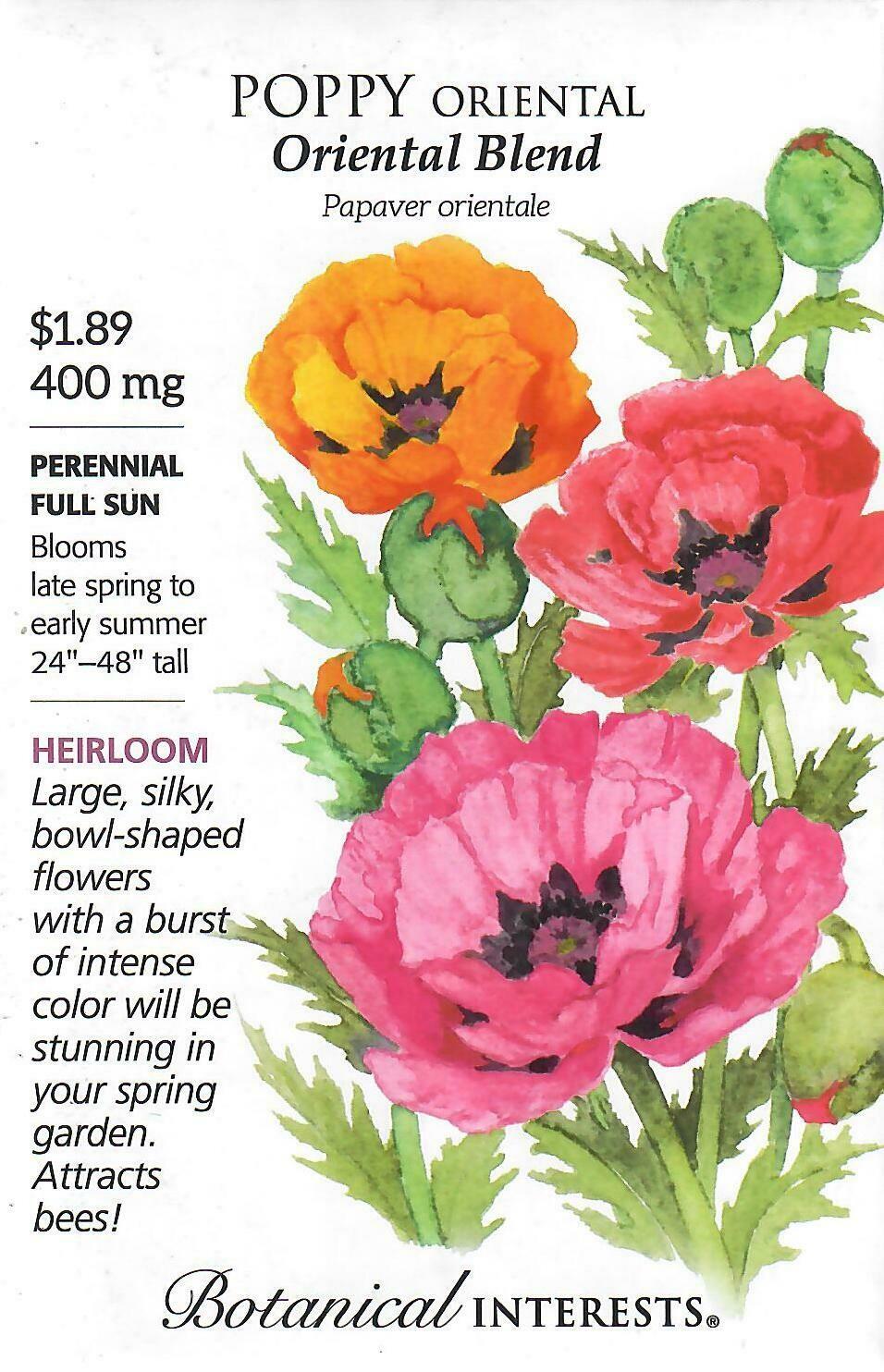 Poppy Oriental Blend Botanical Interests