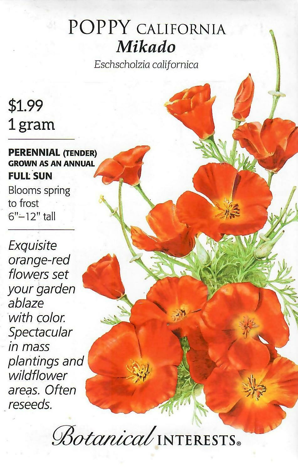 Poppy California Mikado Botanical Interests