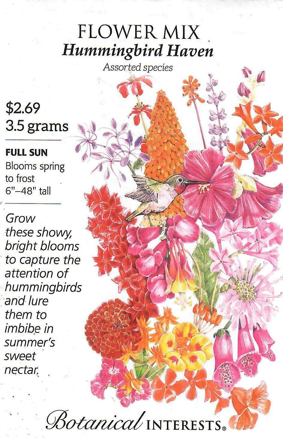 Flower Mix Hummingbird Haven Botanical Interests