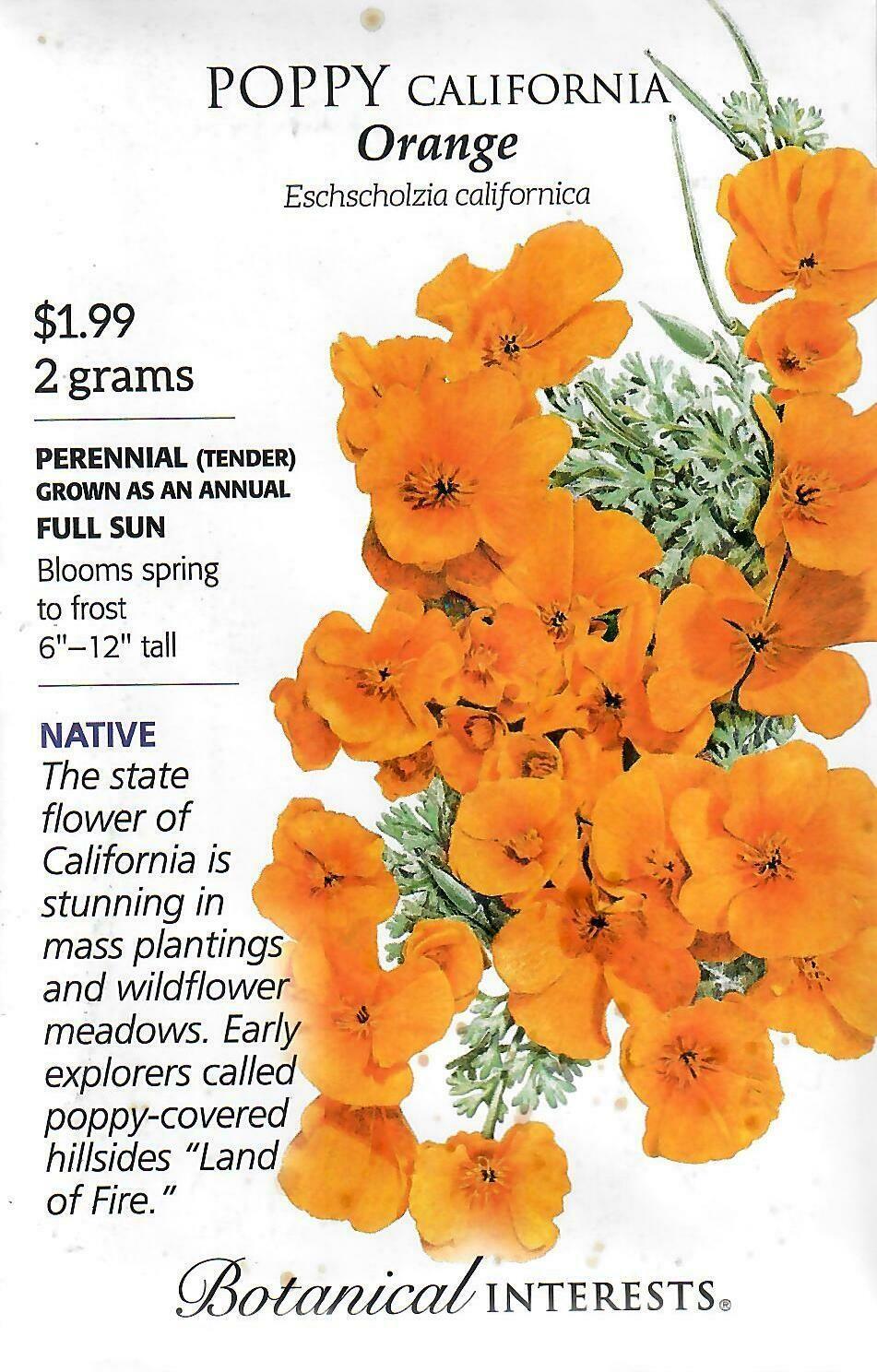 Poppy California Orange Org Botanical Interests