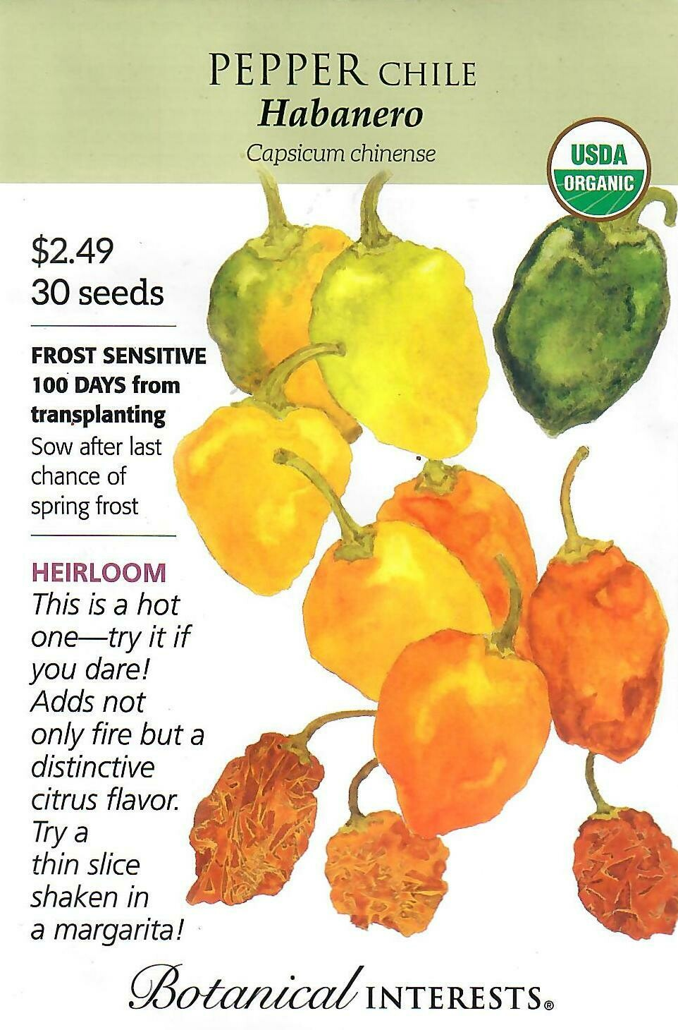 Pepper Chile Habanero Org Botanical Interests