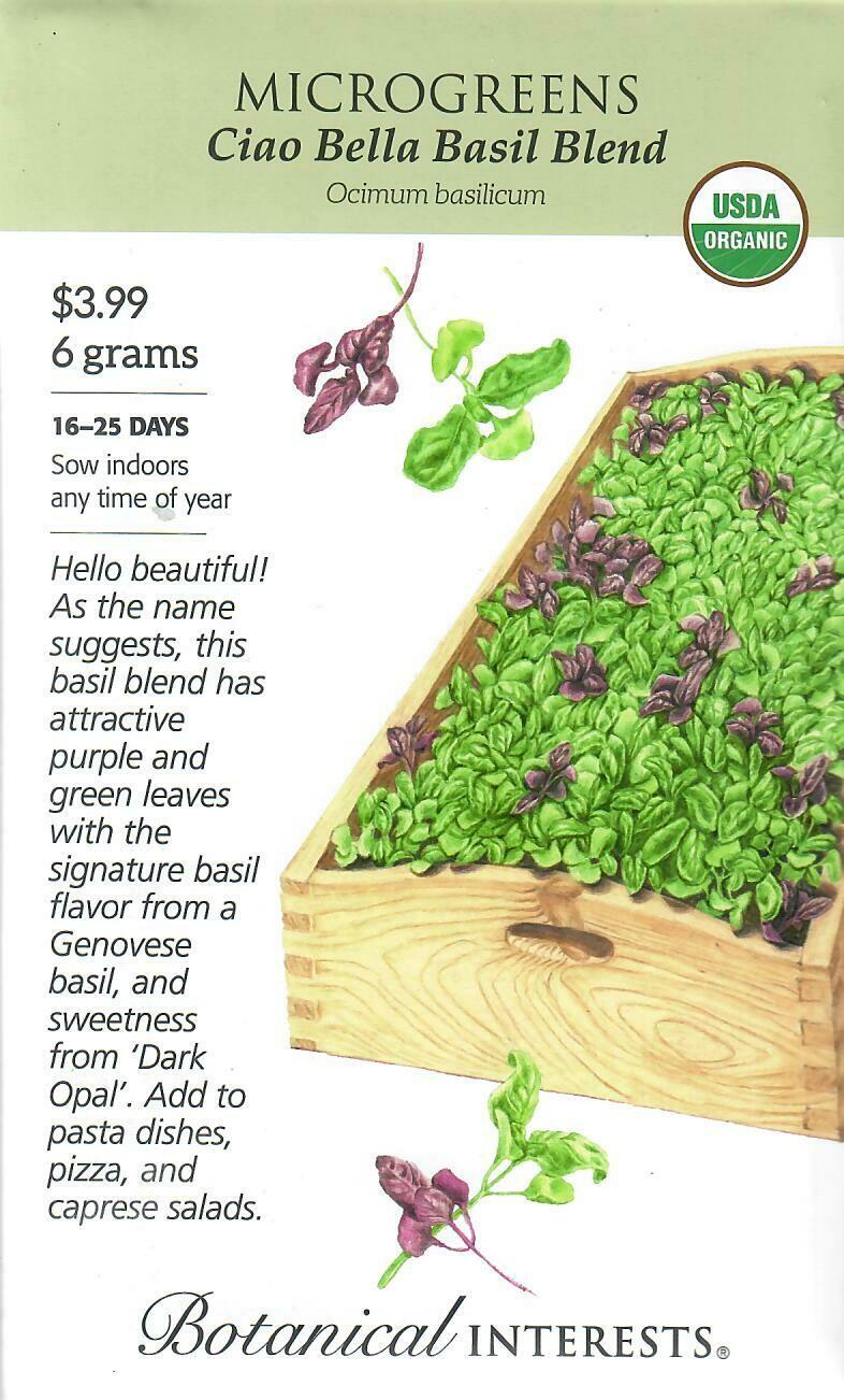 Microgreens Basil CiaoBella Bld Org LG Packet Botanical Interests