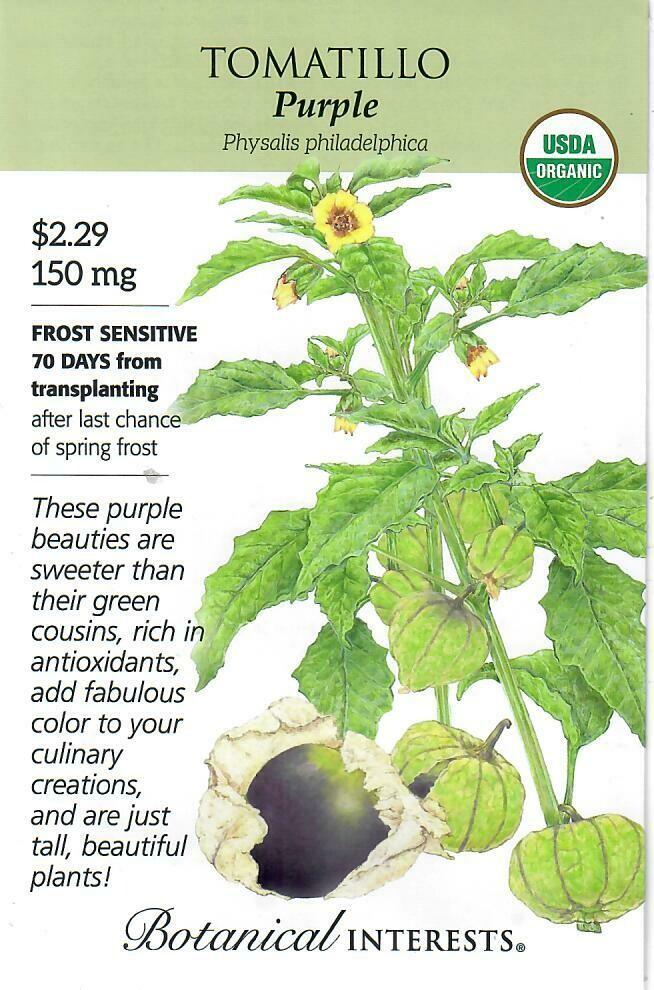 Tomatillo Purple Org Botanical Interests