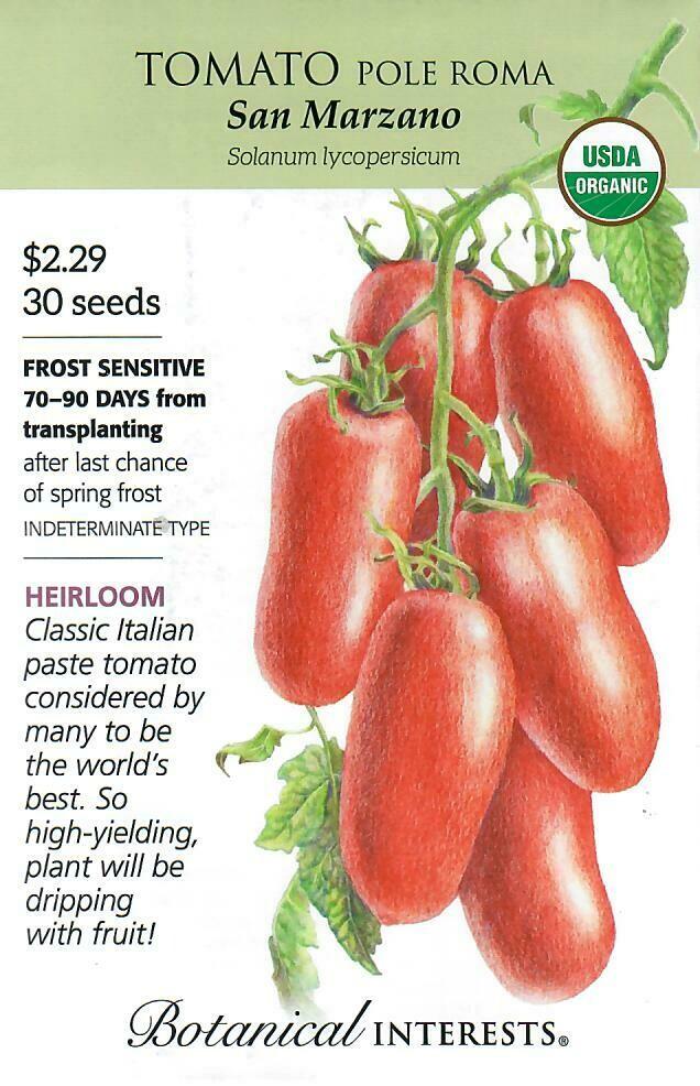 Tomato Pole Roma San Marzano Org Botanical Interests