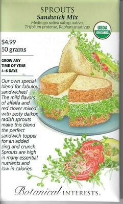 Sprouts Sandwich Mix Org LG Packet Botanical Interests